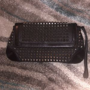 Authentic Beautiful Burberry Pewter studded clutch